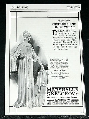 1916 Old Wwi Magazine Print Ad, Marshall & Snelgrove, Dainty Underwear, Fashion!