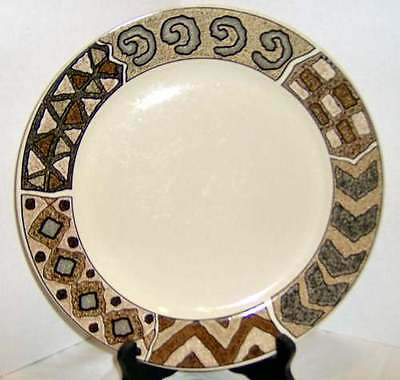 Sakura CRETE Dinner Plate Sue Zipkin Tribal Ethnic RETIRED Discontinued Blk Brwn