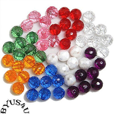 ROUND FACETED ACRYLIC BEADS 6mm CHOICE OF COLORS 100pc Free Shipping