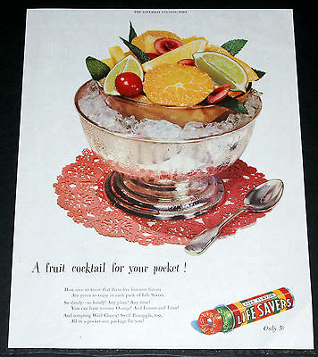 1947 Old Magazine Print Ad, Life Savers Candy, Five Fruit Flavors Your Pocket!