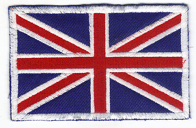 [Patch] BANDIERA INGLESE cm 11,5x7,5 bordo bianco toppa ricamo UNION JACK -055b