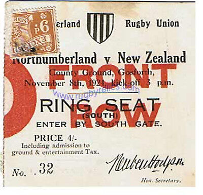 NORTHUMBERLAND v NEW ZEALAND 8 NOVEMBER 1924 RUGBY TICKET