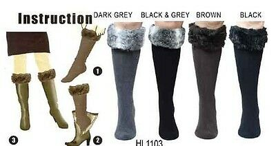 New Women Winter Warm Faux Fur Cover Cuff Socks Boot Socks Boots socks with fur