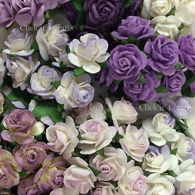 100 Purple Mulberry Paper Flowers Wedding Headpiece Scrapbook Card Roses R8-601