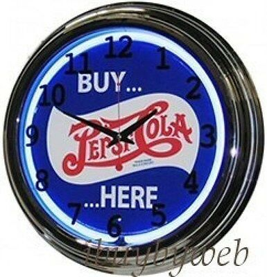 """Retro 17"""" Blue Neon Buy Pepsi Cola Here Man Cave Game Room Sign Wall Clock NEW"""