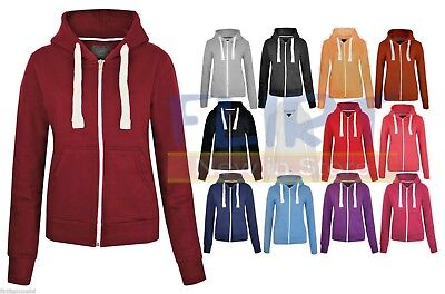 WOMENS PLAIN HOODIE LADIES HOODED ZIP ZIPPER TOP SWEAT SHIRT JACKET COAT SWEATER