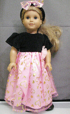 "18"" American Girl: Doll Clothes - Black Pink Gold Heart Dress Outfit w/ Shoes"