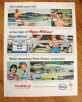 1963 Humble Enco Oil Ad Boating Water Skiing