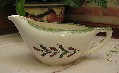 Vintage Knowles USA China Creamer Red & Green Berry/Leaf Design Sponged Rim
