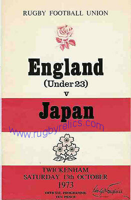 JAPAN 1973 RUGBY TOUR PROGRAMME v ENGLAND UNDER 23s 13th October, Twickenham