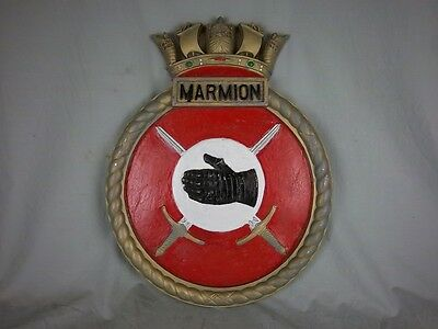 "HMS Marmion Ships Badge WWI Destroyer 18"" x 14"" One Off Casting"