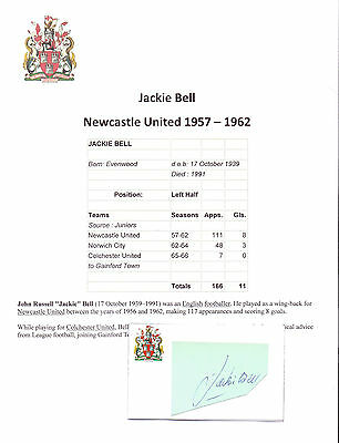 Jackie Bell Newcastle United 1957-1962 Rare Hand Signed Card Very Good Condition