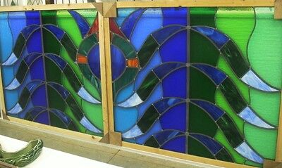 ENGLISH STAINED GLASS WINDOW Stunningly Colorful Pair of Panels