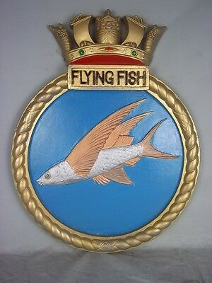 "HMS Flying Fish (J 370) Ships Badge Fleet Minesweeper 18"" x 14"" One Off Casting"