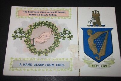 Old Postcard Of A Hand Clasp From Erin, Ireland