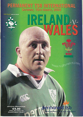 IRELAND v WALES 2003 RUGBY PROGRAMME WORLD CUP WARM UP MATCH