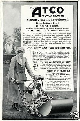 Vintage Atco Lawn Mower Advertisement A3 Poster Print