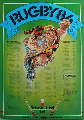 Stewart Steel New Zealand '86 Fixture List Rugby Poster