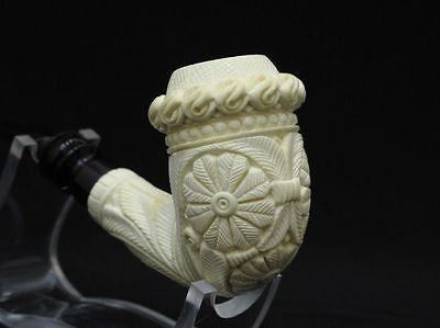 Floral Calabash block Meerschaum Pipe 煙斗 海泡石 Gift case, Hand made, Big Bowl