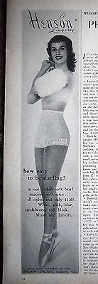 1958 Vintage HENSON Womens Underwear How to Be Darling Ballerina Slippers Ad