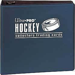 """Blue Ultra Pro Hockey Brand 3"""" Binder Clear Acid Free Folder 3 Rings Pages New"""