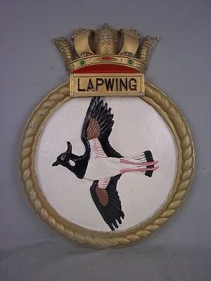 "HMS Lapwing (U 62) Ships Badge Black Swan-class Sloop 18"" x 14"" One Off Casting"