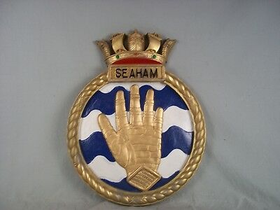 """HMS Seaham Ships Badge Bangor Class Minesweeper 18"""" x 14"""" One Off Casting"""