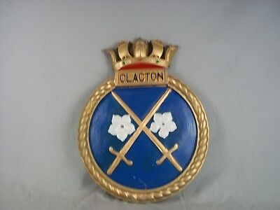 """HMS Clacton Ships Badge 1941 Bangor-class Minesweeper  18"""" x 14"""" One Off Casting"""