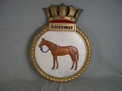 "HMS Racehorse (H11) Ships Badge R-Class 1942 Destroyer 18"" x 14"" One Off Casting"