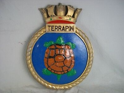 "HMS Terrapin Ships Badge T-Class Submarine 18"" x 14"" One Off Casting"