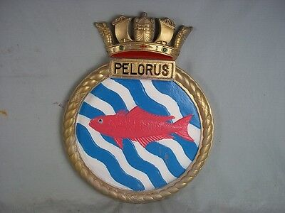 "HMS Pelorus Ships Badge Algerine-class MInesweeper  18"" x 14"" One Off Casting"