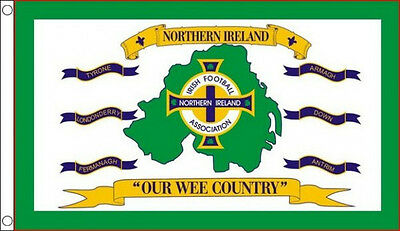NORTHERN IRELAND FOOTBALL FLAG 5' x 3' Our Wee Country Irish Soccer