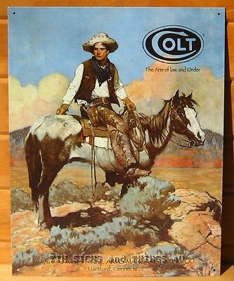 Colt Firearms Tex TIN SIGN cowboy horse western vtg metal wall decor gun ad 1594