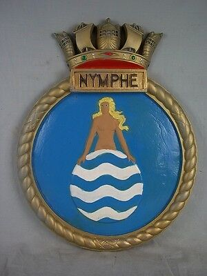 "HMS Nymphe Ships Badge 1911 Acorn Class Destroyer 18"" x 14"" One Off Casting"