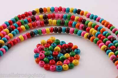 1000 Pcs Mixed color Wood Spacer loose flat beads Necklace charms findings 6x4mm