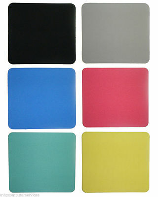 FABRIC MOUSEMAT MOUSE MAT PAD - Black, Blue, Green, Grey, Red, Yellow 25x22cm