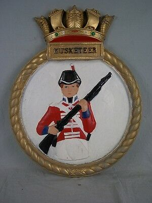 "HMS Musketeer G86 1942 Ships Badge M-class Destroyer 18"" x 14"" One Off Casting"