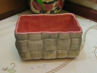 Vintage Shawnee Art Pottery Basket Weave Planter Matte Gray & Satin Pink