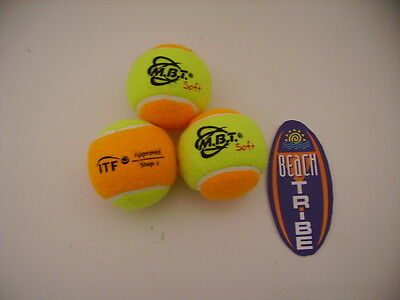 3 Palline Balls Beach Tennis Mbt Soft Giallo Arancio Itf Stage 2