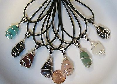 """One Wire Wrapped Tumbled Stone Pendant w/Cord & Bail- 3/4"""" Natural Gemstones"""