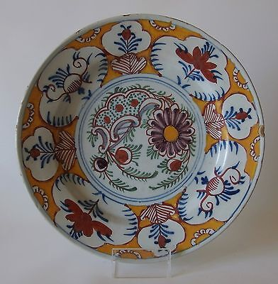 """18th Century Dutch DELFT Charger Plate """"Floral"""""""