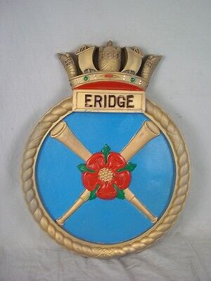 "HMS Eridge (L68) Ships Badge Hunt 1940 Class Destroyer 18"" x 14"" One Off Casting"