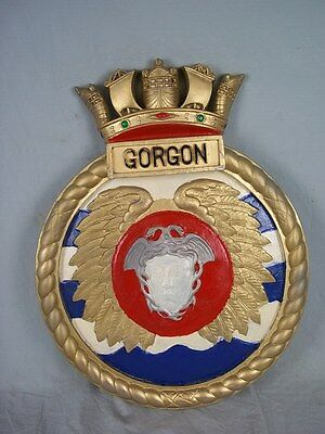 "HMS Gorgon 1914 Ships Badge Gorgon-Class Monitor 18"" x 14"" One Off Casting"