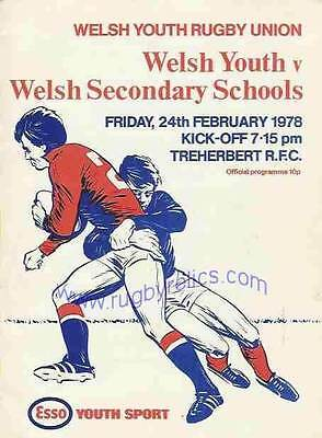 WELSH SCHOOLS v WELSH YOUTH 1978 RUGBY PROGRAMME