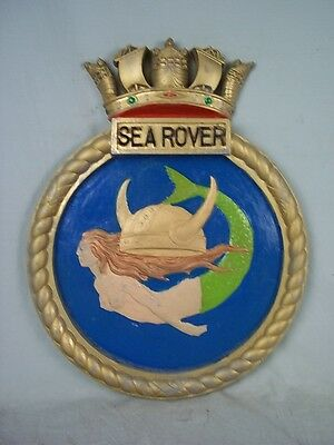 "HMS Sea Rover (P 218) Ships Badge 1943 S-class Submarine 18""x14"" One Off Casting"