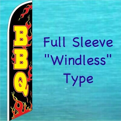 BBQ WINDLESS BANNER FLAG  Barbecue Advertising Sign Feather Swooper Bow Flutter