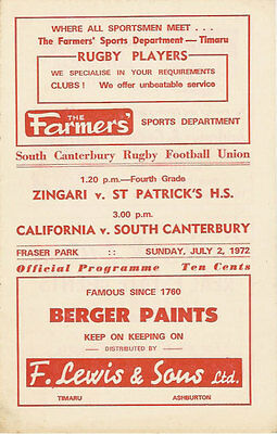 South Canterbury v California Grizzlies (USA) 2 Jul 1972 RUGBY PROGRAMME
