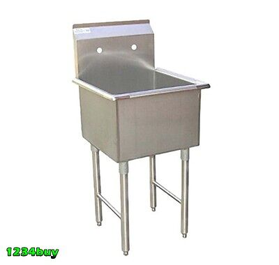 """1 Compartment Stainless Steel Utility Prep. Sink 18"""" x 18"""" x 13""""D ETL SE18181P"""