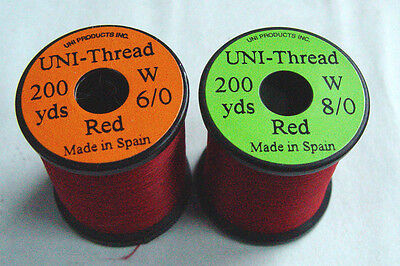 1 x 50 yards Fil montage ROUGE 6-0//8-0 truite mouche fly tying thread red