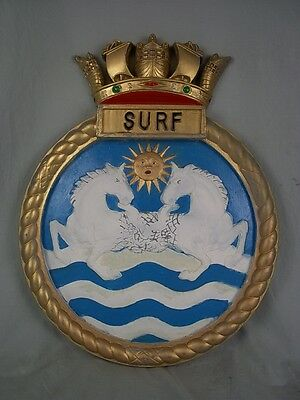 "HMS Surf (P239) Ships Badge, S Class 1942 Submarine, 18"" x 14"" One Off Casting"